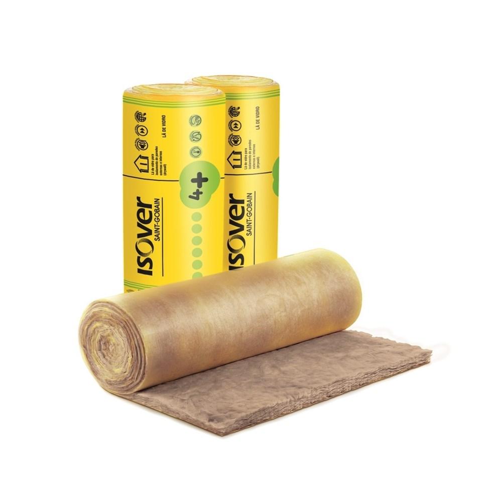 Manta Lã de Vidro Wallfet 4+ 50 x 12500 X 1200 mm 15M² Pré-Corte 600mm - Isover