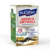 Tinta Acrílica Gesso e Drywall para Interior Branca 18L Eucatex Tintas
